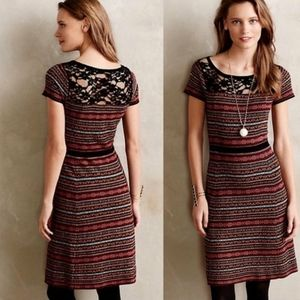 Anthro SPARROW lace striped knit sweater dress